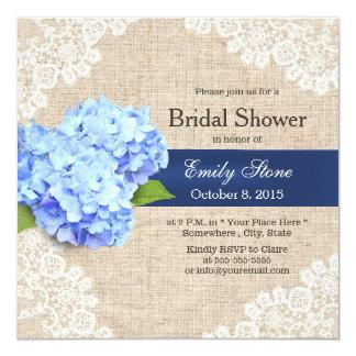 Rustic Blue Hydrangea Lace & Burlap Bridal Shower Card
