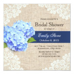"Rustic Blue Hydrangea Lace & Burlap Bridal Shower 5.25"" Square Invitation Card"