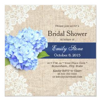 Rustic Blue Hydrangea Lace & Burlap Bridal Shower 5.25x5.25 Square Paper Invitation Card