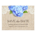 Rustic Blue Hydrangea Lace & Burlap Save the Date Postcard