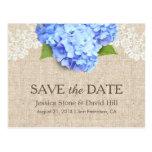 Rustic Blue Hydrangea Lace & Burlap Save the Date Postcard