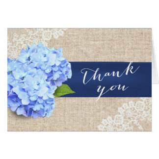 Rustic Blue Hydrangea Lace & Burlap Thank You