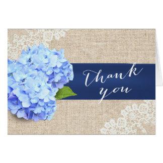 Rustic Blue Hydrangea Lace & Burlap Thank You Card
