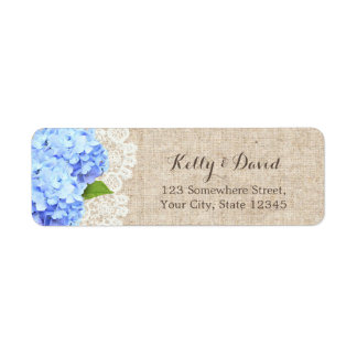 Rustic Blue Hydrangea Lace & Burlap Wedding Label