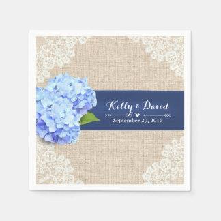 Rustic Blue Hydrangea Lace & Burlap Wedding Paper Napkin