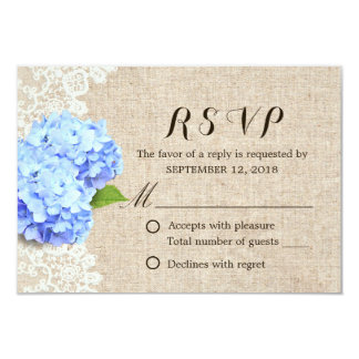 Rustic Blue Hydrangea Lace & Burlap Wedding RSVP Card