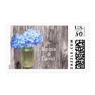 Rustic Blue Hydrangea Mason Jar Wedding Stamps