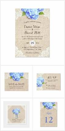 Rustic Blue Hydrangea Wedding Collection