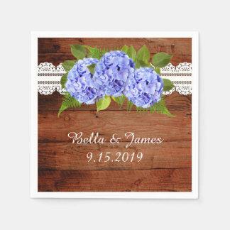 Rustic Blue Hydrangea Wedding Collection Napkins