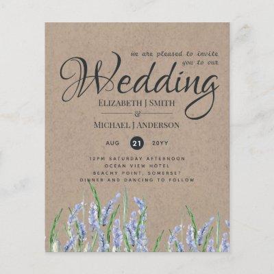 Rustic Blue Lavender Wedding Invites Budget