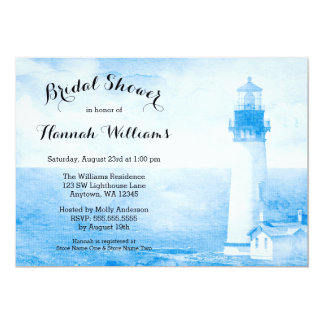 Rustic Blue Lighthouse Bridal Shower Card