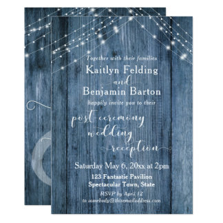 Rustic Blue & Lights Post-Wedding Reception Only Card