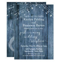 Rustic Blue & Lights Post-Wedding Reception Only Invitation