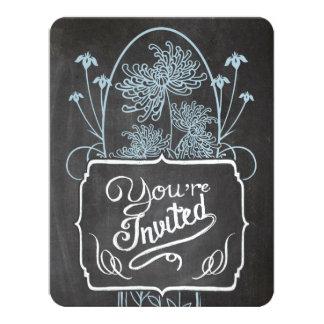 Rustic Blue Mason Jar Chalkboard Wedding Card