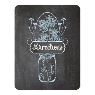 Rustic Blue Mason Jar Chalkboard Wedding 4.25x5.5 Paper Invitation Card