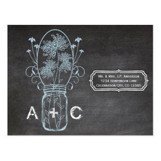 Rustic Blue Mason Jar Chalkboard Wedding Postcard