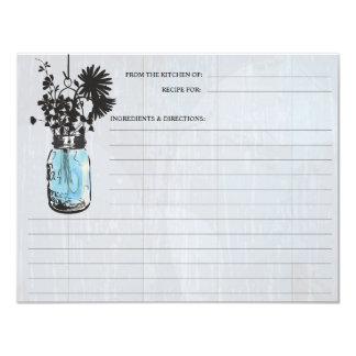"Rustic Blue Mason Jar & Wildflowers Recipe Card 4.25"" X 5.5"" Invitation Card"