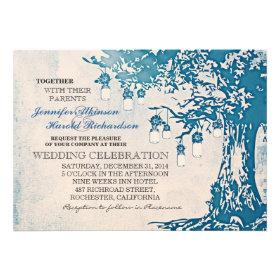 Rustic blue mason jars tree wedding invitations