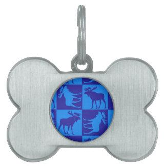 Rustic blue moose square design pet tag
