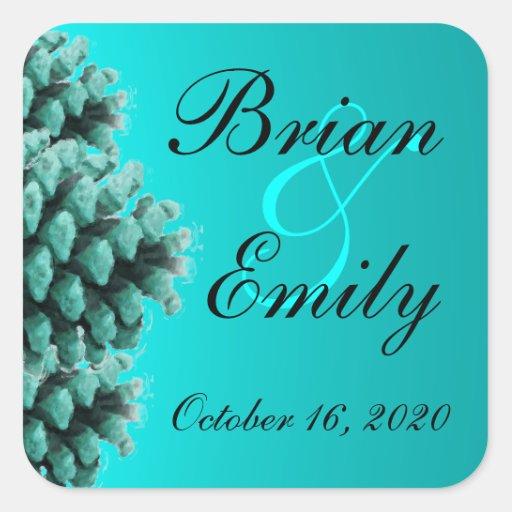 Rustic blue pine cone custom wedding stickers