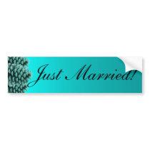 Rustic blue pine cone just married bumpersticker bumper sticker