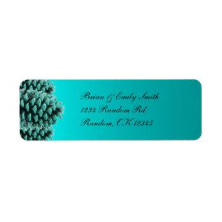 Rustic blue pine cone return address labels