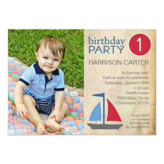 Rustic Blue Sail Boat Birthday Invitation