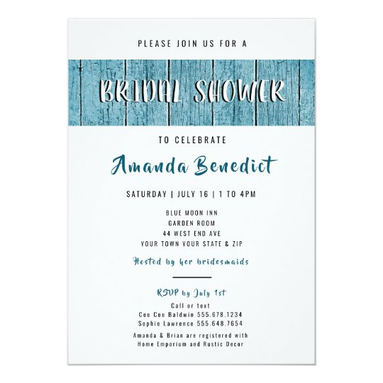 rustic blue shiplap wood modern bridal shower invitation