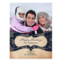 Rustic blue snowflakes photo Holiday cards