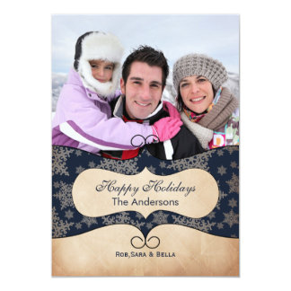 "Rustic blue snowflakes  photo Holiday cards 5"" X 7"" Invitation Card"