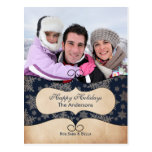 Rustic blue snowflakes photo Holiday cards Post Card