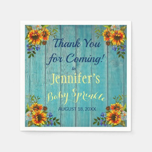 Rustic Blue Sunflower Baby Sprinkle Party Napkin