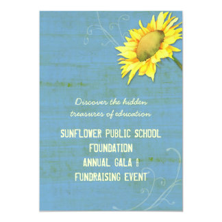Rustic Blue Sunflower Themed Fundraising Events Card