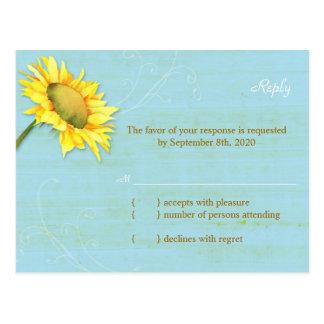 Rustic Blue Sunflower Wedding RSVP Postcard