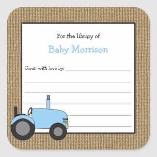 Rustic blue tractor baby shower bookplate