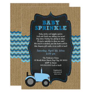Rustic Blue Tractor Baby Sprinkle, baby shower Card