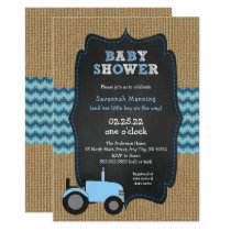 Rustic Blue Tractor boy Baby shower Card