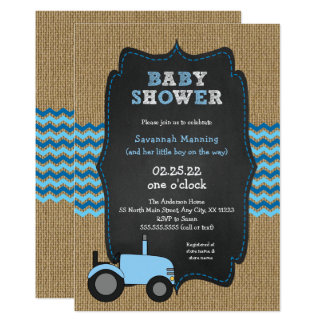 Rustic Blue Tractor boy Baby shower Invitation