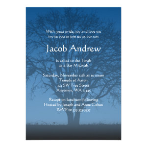 Rustic Blue Tree of Life Bar Mitzvah Invitations Personalized Announcements