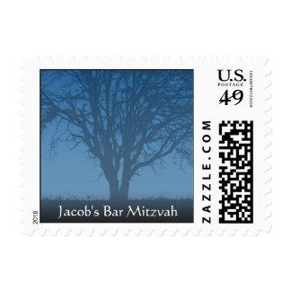 Rustic Blue Tree of Life Bar Mitzvah Postage