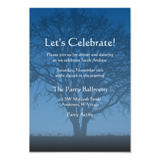 Rustic Blue Tree of Life Bar Mitzvah Reception Card