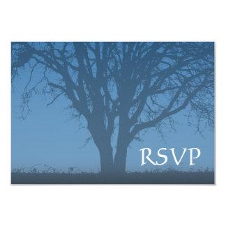 Rustic Blue Tree of Life Bar Mitzvah RSVP Card