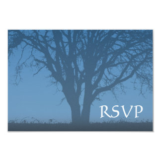 Rustic Blue Tree of Life Bar Mitzvah RSVP 3.5x5 Paper Invitation Card