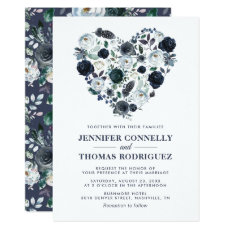 Rustic Blue Watercolor Floral Heart Wedding Invitation