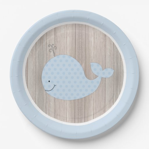 Rustic Blue Whale Paper Plate