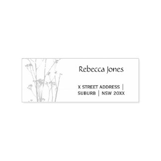 RUSTIC BLUE, WHITE, PINK COUNTRY CHARM ADDRESS RUBBER STAMP