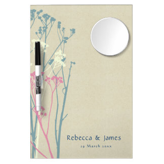 RUSTIC BLUE WHITE PINK COUNTRY CHARM MONOGRAM DRY ERASE BOARD WITH MIRROR