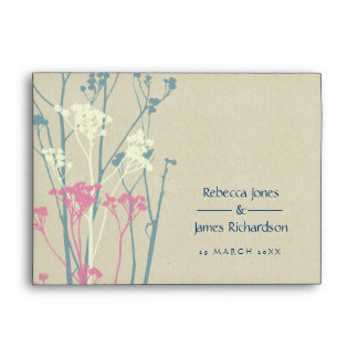RUSTIC BLUE WHITE PINK COUNTRY CHARM MONOGRAM ENVELOPE