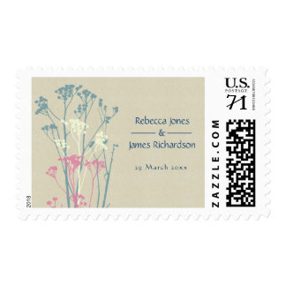 RUSTIC BLUE WHITE PINK COUNTRY CHARM MONOGRAM POSTAGE