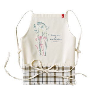 RUSTIC BLUE WHITE PINK COUNTRY CHARM MONOGRAM ZAZZLE HEART APRON